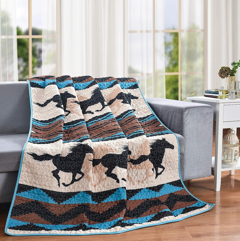 "LL Home Wild Quilt Decorative Throw Blanket, (60""x50""), Southwest Horse"