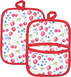 Sage and Stitch Kitchen Pot Holders 7'' x 9'' with Hand Pockets and Hanging Loop, Dual Function Oven Mitt Trivet Potholder Hot Pad 100% Cotton, Heat Resistant Set of 2 - Berries Product Name