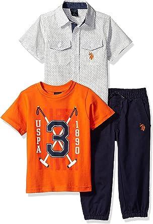 U.S. Polo Assn. Boys Toddler T, Sport Shirt and Pant Set, Navy ...