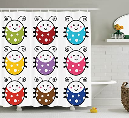 Amazon Com Ambesonne Ladybugs Decorations Shower Curtain Set