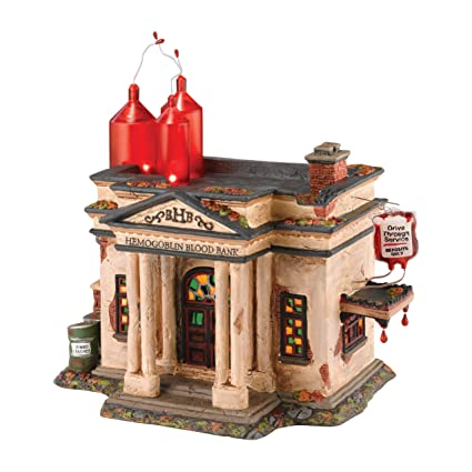department 56 snow village halloween hemogoblin blood bank lit house 1063 inch