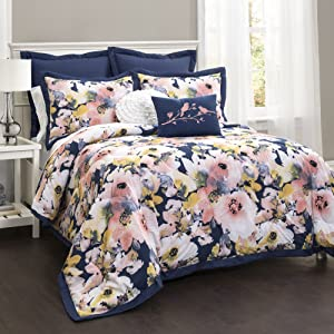 Lush Decor Lush Décor Floral Watercolor 7 Piece Comforter Set, Full/Queen, 0