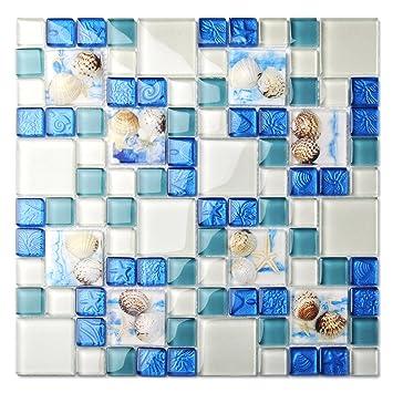 Tst Mosaic Tiles Glass Conch Tiles Beach Style Sea Blue Glass Tile