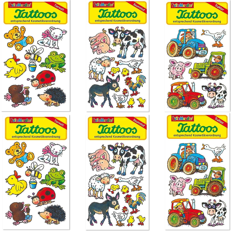 Lutz Mauder Juego de 6 tattoo-set * Animales y granja Niños ...
