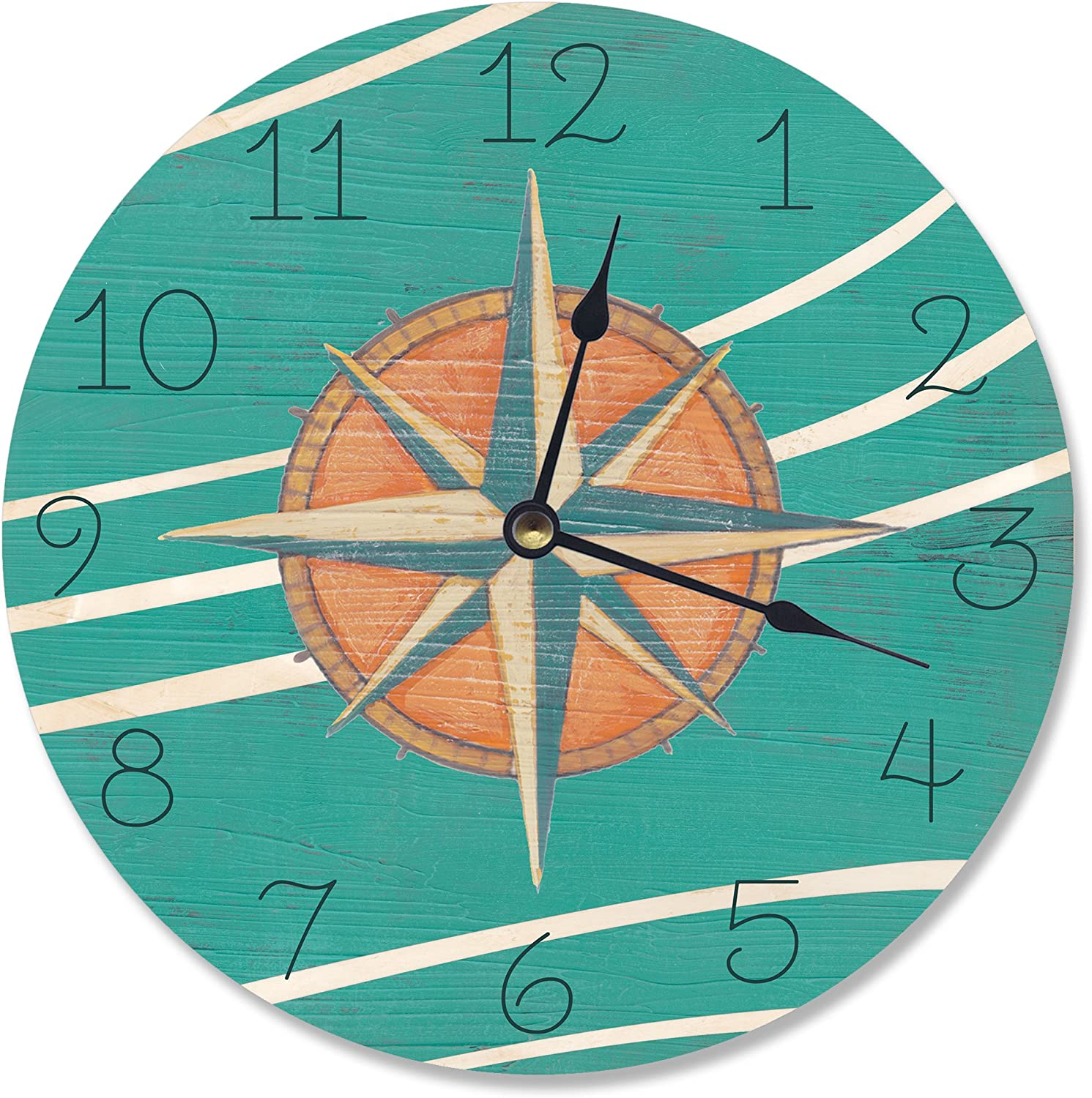 Stupell Industries Teal and Coral Nautical Compass Vanity Clock, 12 x 0.4 x 12, Multi-Color