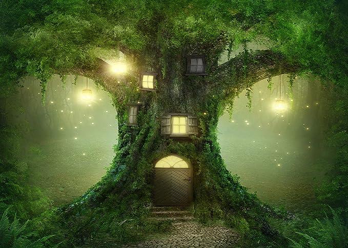 Fondo del bosque encantado de las maravillas de la princesa secreta jardín noche bosque patio de hadas tallas maderas Cenicienta antiguo árbol mariposa seta luna estampado fondo de tela: Amazon.es: Juguetes y