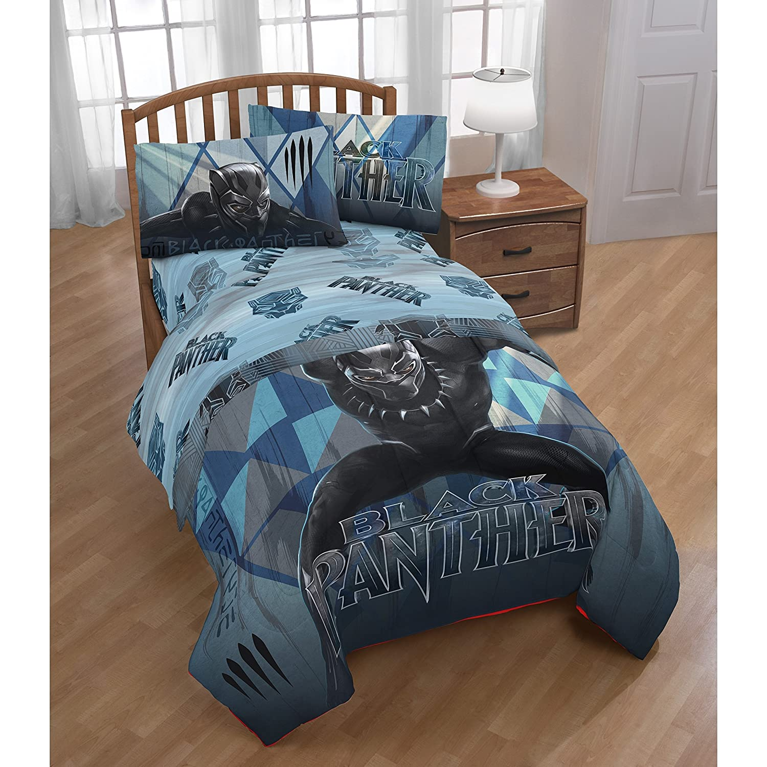 1 Piece Boys Blue Grey Black Panther Themed Comforter Twin Size, Black Marvel Super Hero Print Reversible Bedding Comic Superheroes Pattern, Bold Iconic Design, Vibrant Colors, Soft Plush Polyester