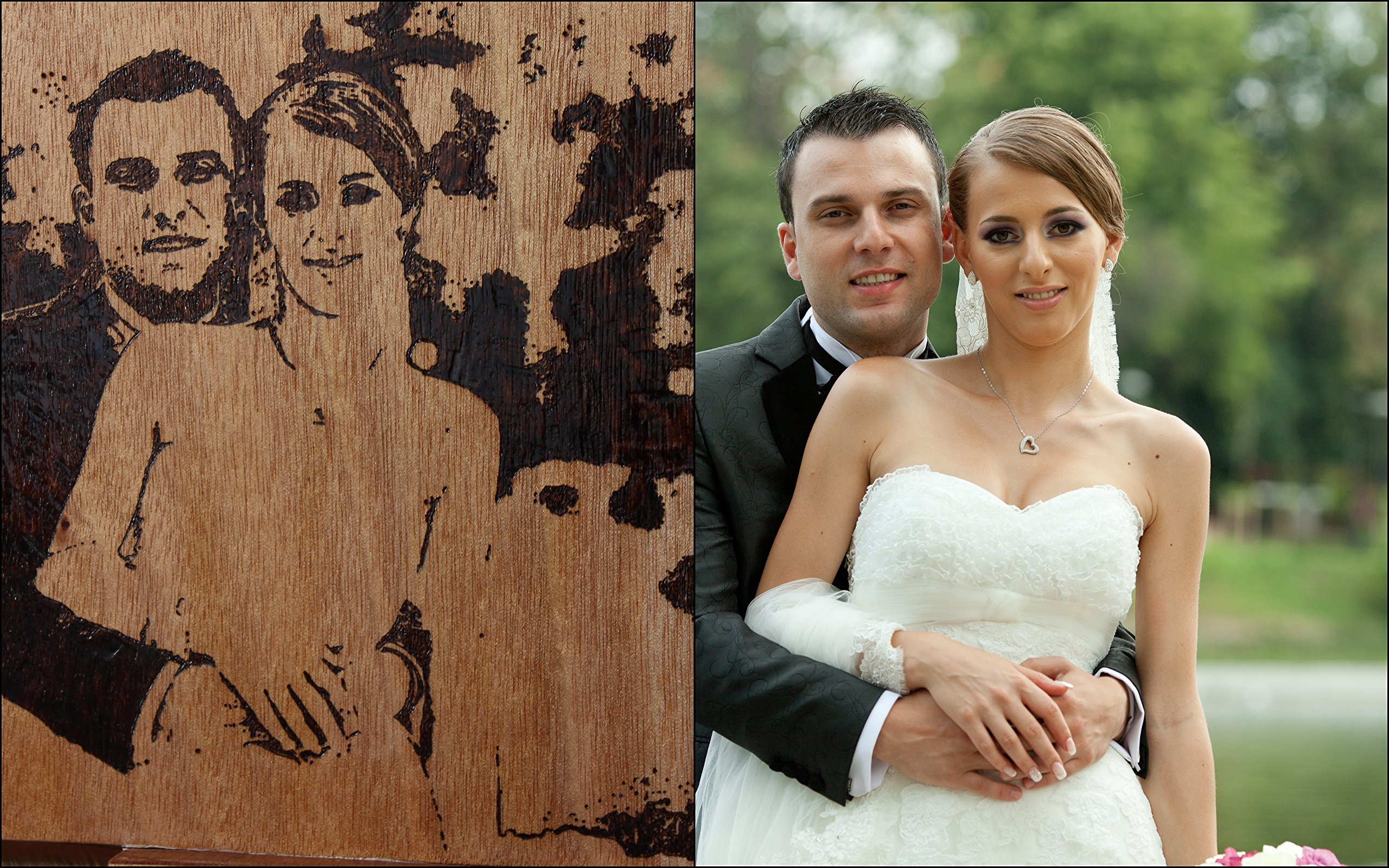 Custom Wedding Album ~ Bride Groom image in wood book ~ Unique Anniversary gift - Engagement present - Gay Lesbian Union family heirloom