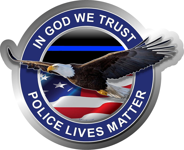 One ProSticker 307V In God We Trust Blue Lives Matter Police Decal Sticker