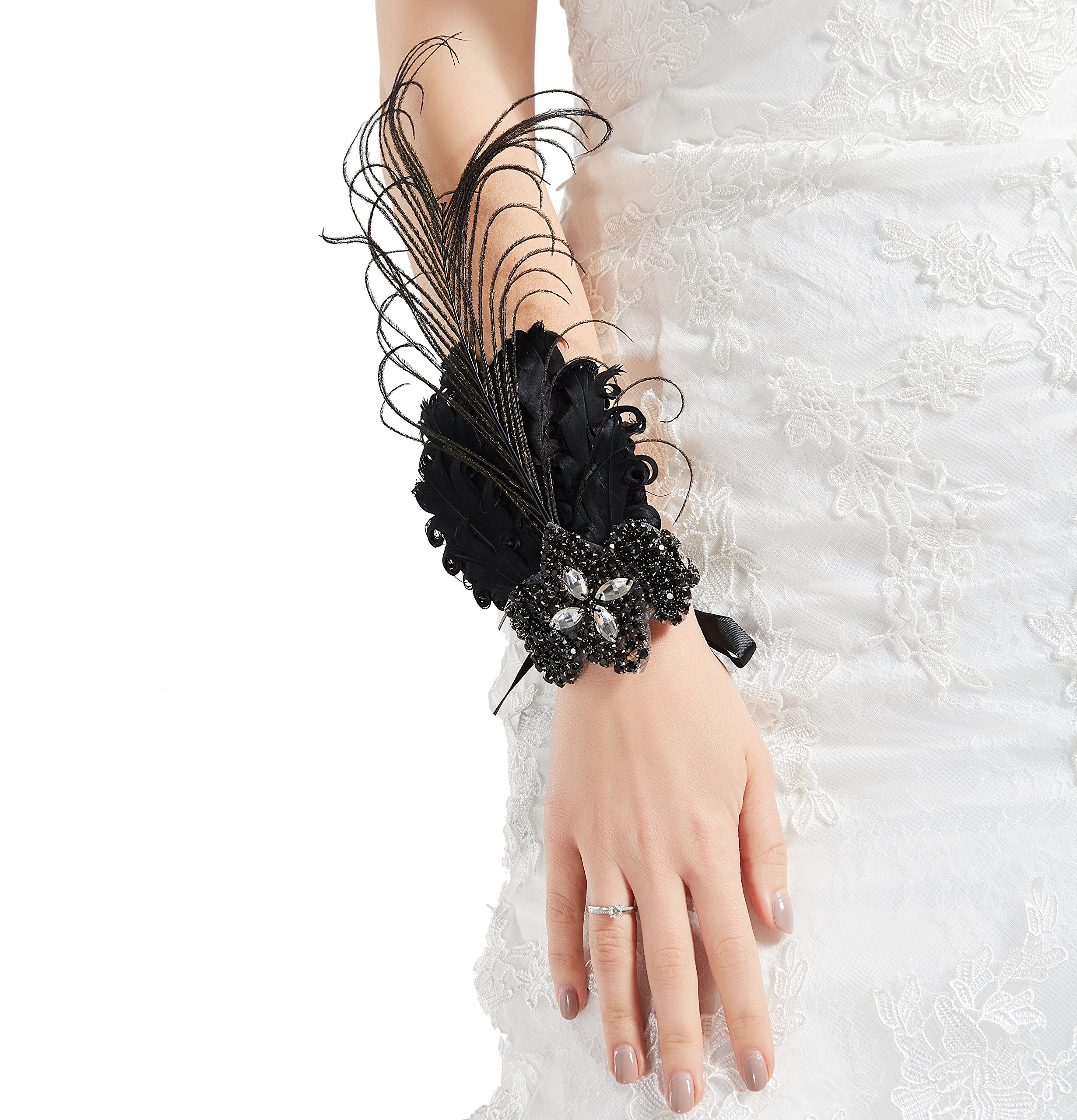 BABEYOND 1920s Wedding Wrist Corsage Gatsby Peacock Feather Bridal Wristband Corsage Roaring 20s Flapper Wedding Costume Accessories (Black by BABEYOND (Image #1)