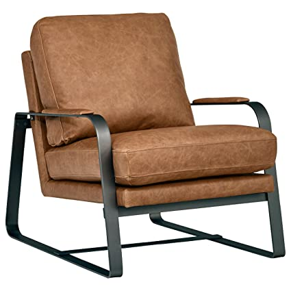 Rivet Summit Top Grain Leather Steel Armed Accent Chair