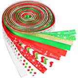 BBTO 22 Yard (2.2 Yard x 10 Pieces) 3/ 8 Inch Christmas Grosgrain Ribbon Winter Holiday Ribbon for Gift Wrapping