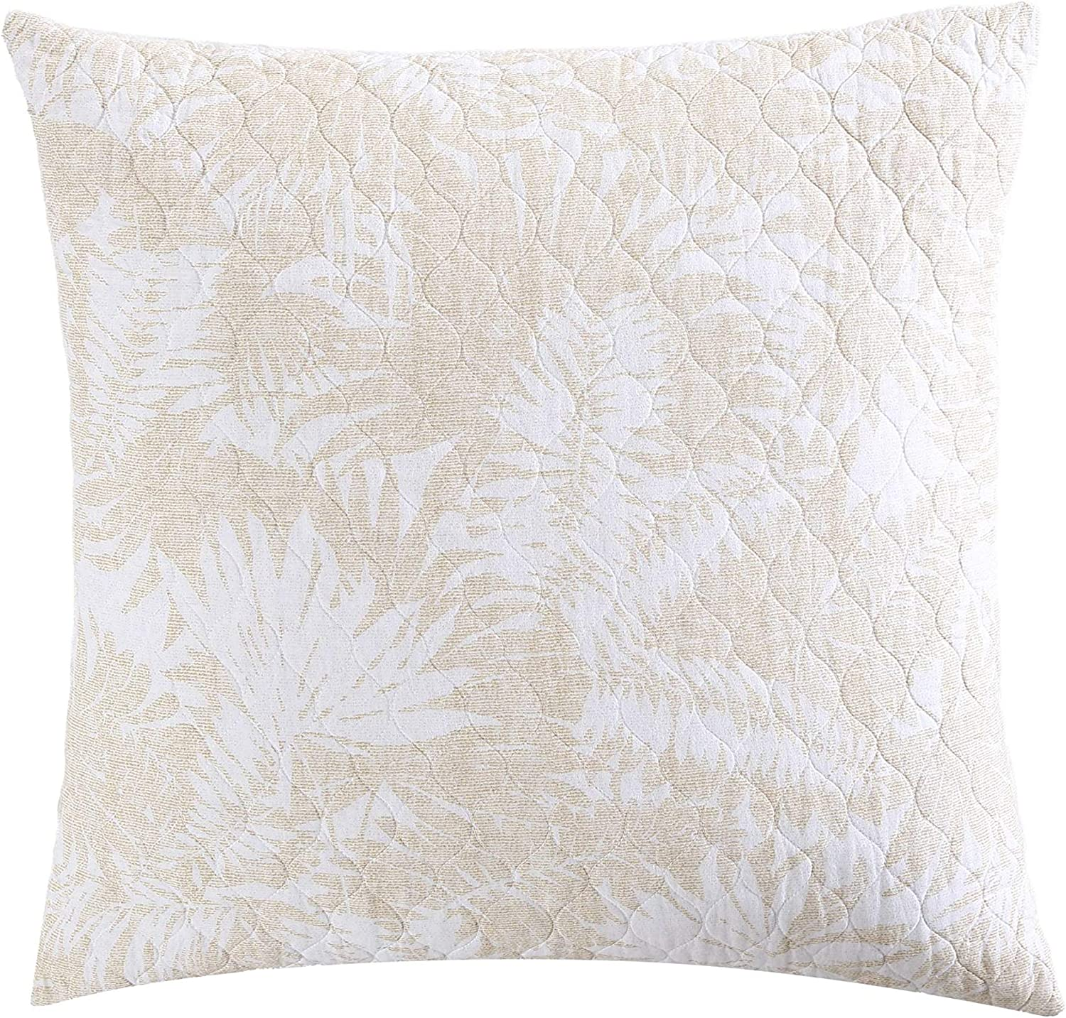 Tommy Bahama Home | Lago Leaves Collection| Two Euro Shams- Soft and Cozy Casual Style Decorative Throw Pillow with Zipper Closure, Includes Removable Insert, 26 x 26, Yellow