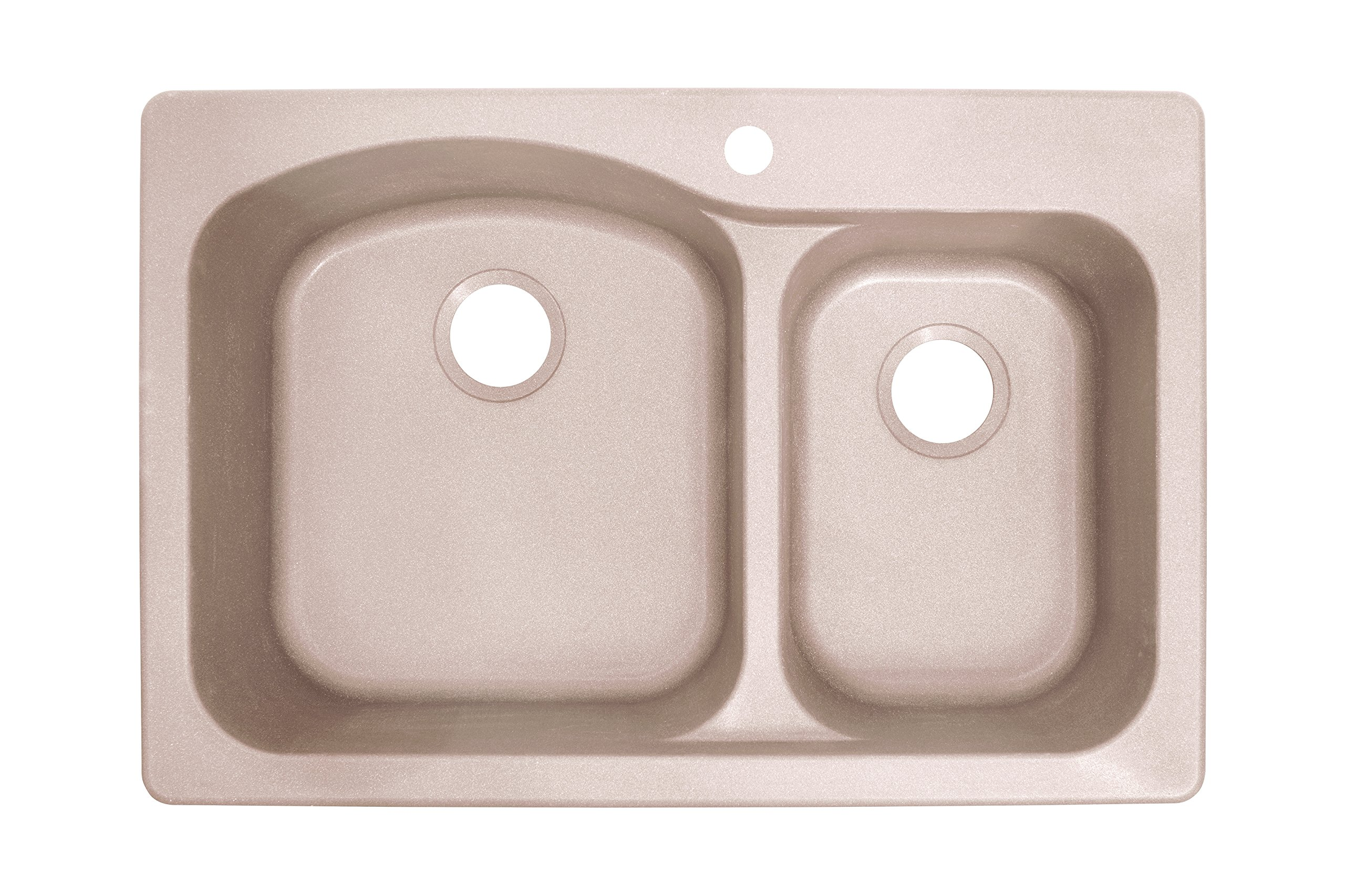 Franke DIG62F91-CHA Gravity 33'' Dual Mount Granite Offset Double Bowl Kitchen Sink, Champagne