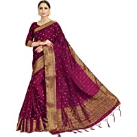 Vardha Sarees for Women's Banarasi Satin Silk | Ethnic Indian Diwali Woven Saree Gift Sari with Non Stitched Blouse