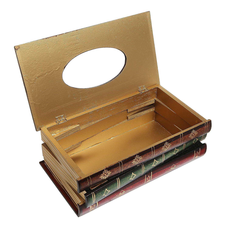 antique book design wood bathroom facial tissue