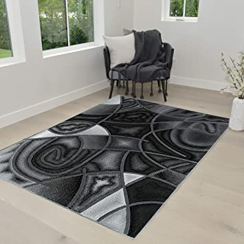 Amazon Com Hr Grey Silver Black Abstract Area Rug Modern Contemporary Circles And Wave Design Pattern 5 X 7 Home Kitchen