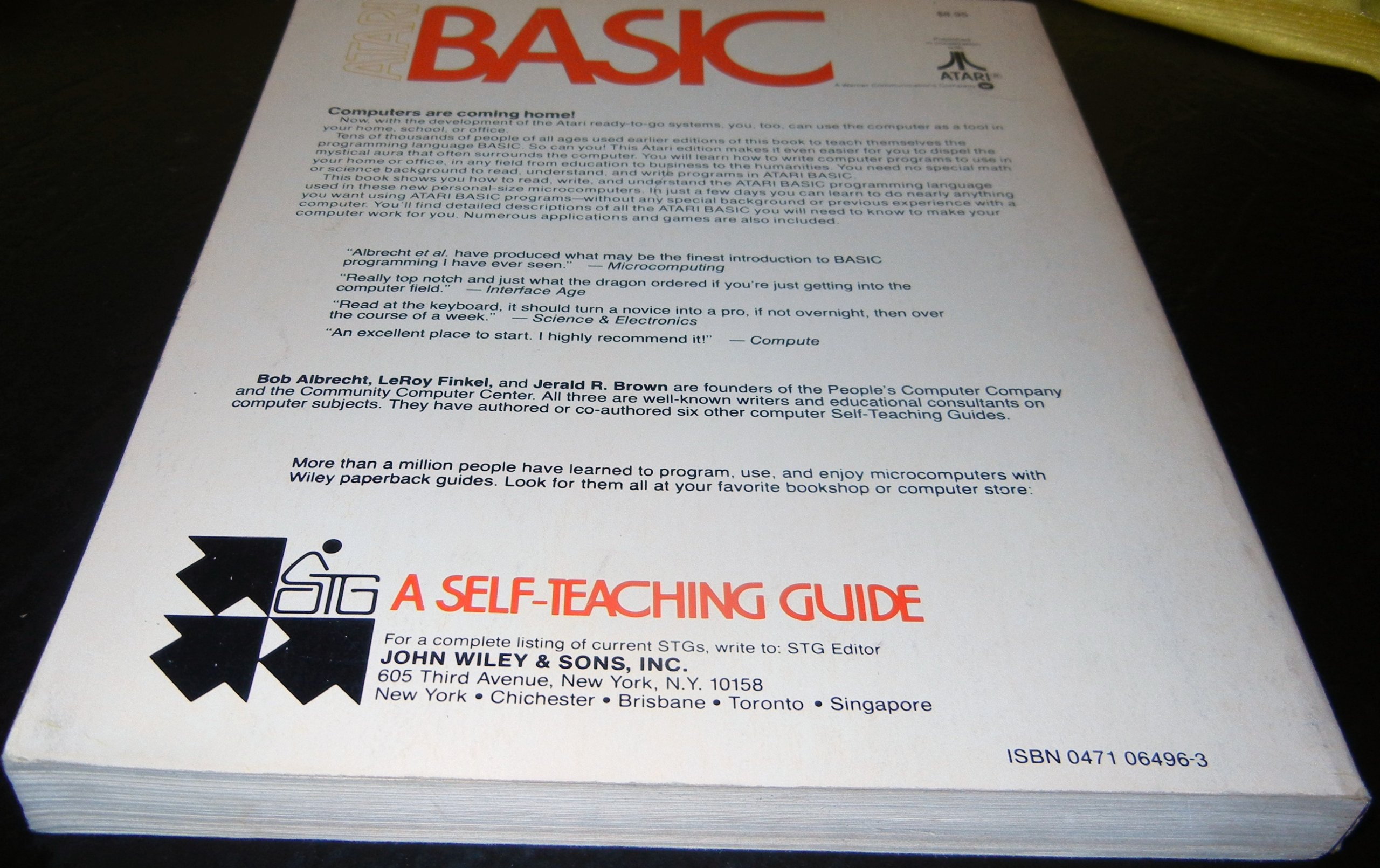 Atari Basic Self Teaching Guides Bob Albrecht Leroy Finkel Complete Guide To Electronics 3 Jerald R Brown 9780471064961 Books