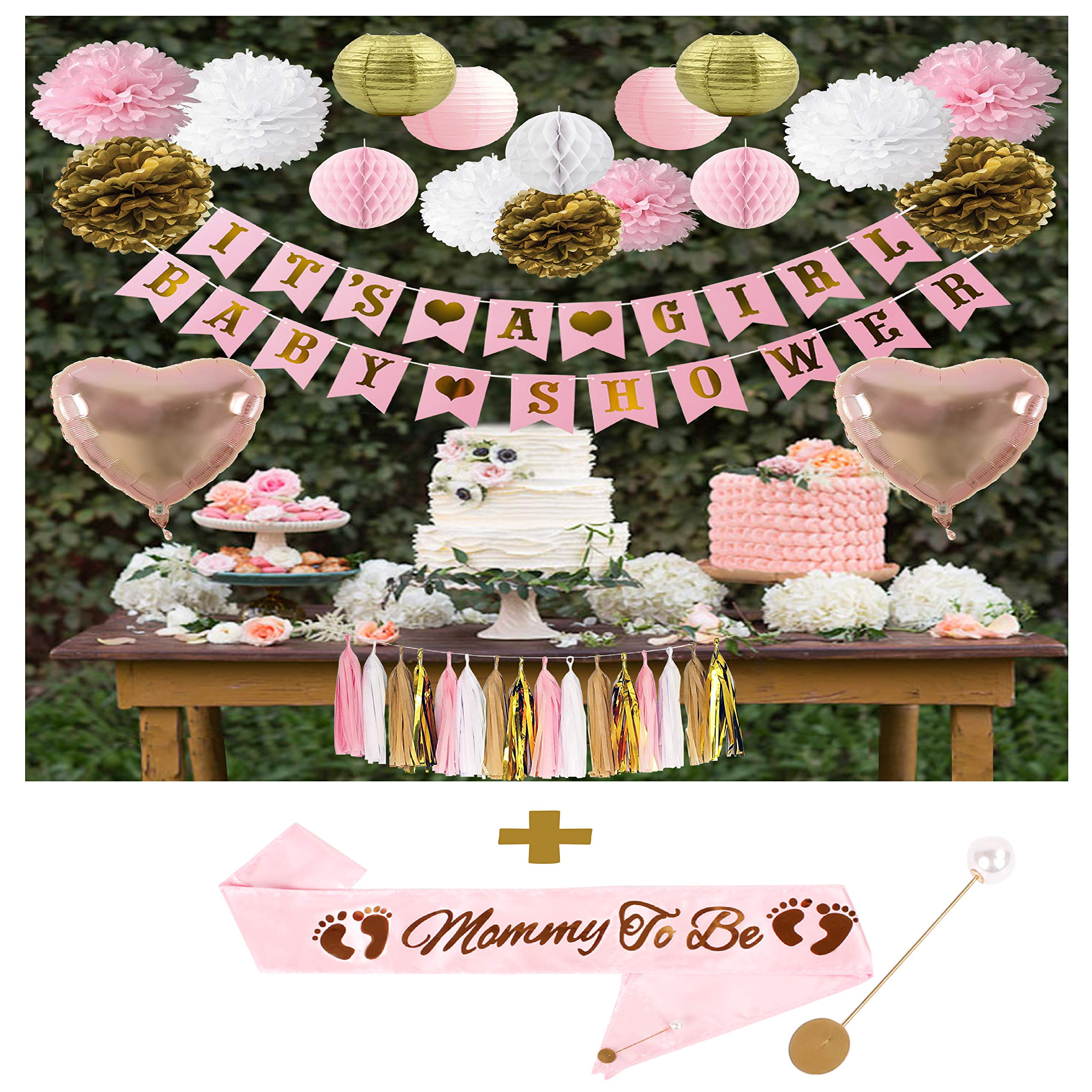 Baby Girl Shower Decorations Set | Mommy to Be Sash | It's a Girl & Baby Shower Banner | Heart Shaped Foil Balloons | Pom Poms | Tissue Garland | Lanterns | Perfect Package for Gifts