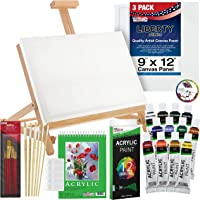 US Art Supply 33 Piece Custom Artist Acrylic Painting Set with Table Easel Paint Canvas and Accessories