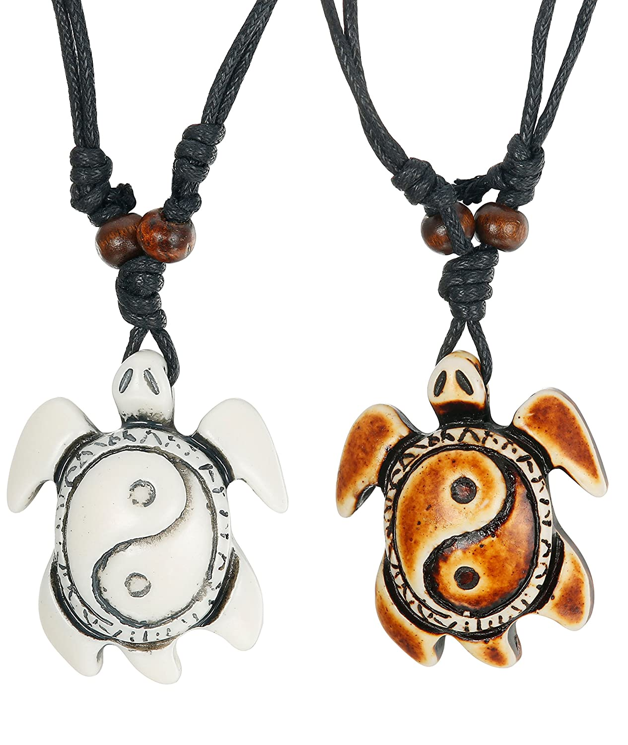 46dba1e8c9 LOYALLOOK 2pcs Sea Turtle Necklace Yin Yang Pendant Necklace with  Adjustable Cotton Cord for Boys