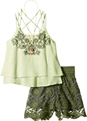 c12f16e350454 Beautees Girls' Big 2 Pc. Spaghetti Strap Tank with Crochet Skirt