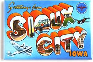 Greetings from Sioux City Iowa Fridge Magnet (2 x 3 inches) style B