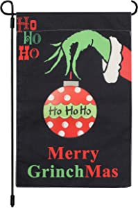 12.5 x 18 Inch Christmas Grinch Garden Flag Vertical Double Sized Retro Burlap Yard Flags Merry Grinchmas Winter Holiday Party Yard Outdoor Decorations