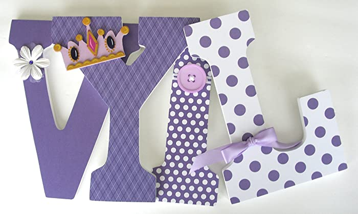 purple custom wooden letters lavender baby girl nursery decor large 9 inch bedroom decorations