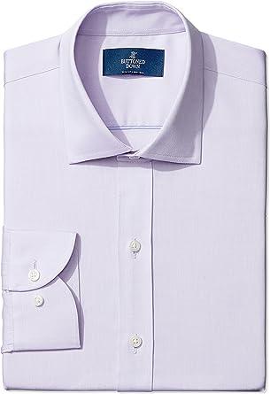Marca Amazon – BUTTONED DOWN – Camisa de vestir de tejido pinpoint de corte entallado con cuello abierto de algodón Supima para hombre que no necesita ...