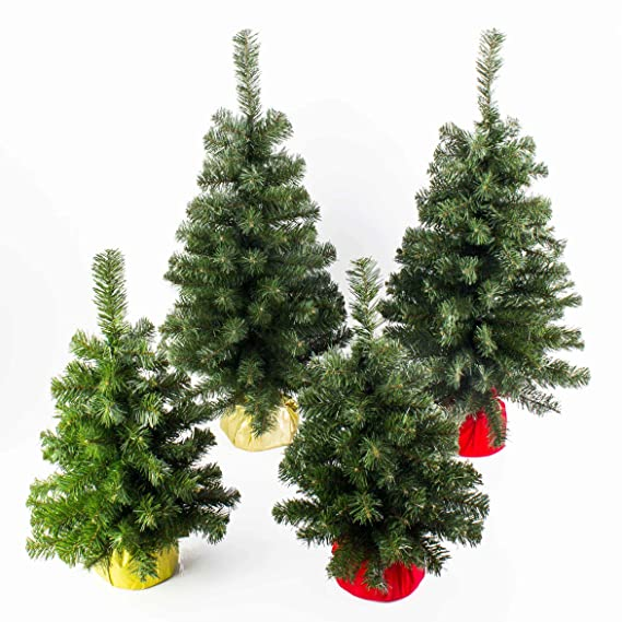 Rouge /Ø 40 cm Vert artplants Mini Sapin de No/ël Artificiel VARSOVIE 60 cm Arbre de No/ël Plastique//Sapin Artificiel PVC