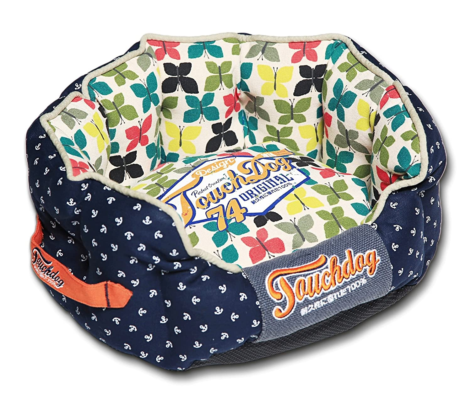 TOUCHDOG 'Butterfly' Rounded Premium Fashion Designer Pet Dog Bed Lounge, Medium, Navy bluee, Butterfly Pattern