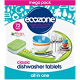 Ecozone All In One Dishwasher Tablets Classic, 72 Tablets, Mega Pack, Cuts Through Grease and Grime