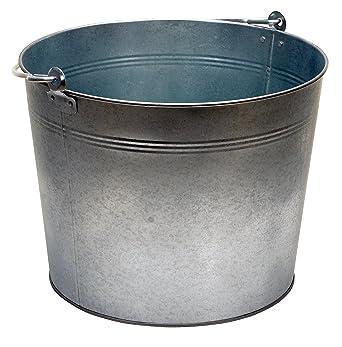 Metal Pail Storage Bucket Galvanized Bucket Flat Back Galvanized Metal Bucket w Handle Industrial Porch Storage Pail #105 Free Ship