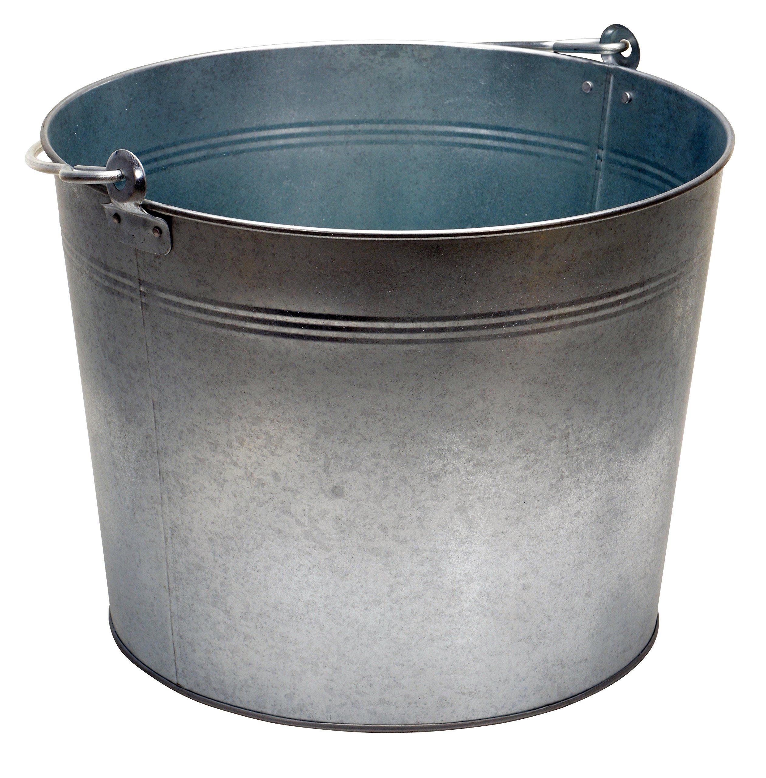 Vestil BKT-GAL-500 Galvanized Steel Bucket, 10-3/4'' Depth, 5 gallon, 44 pound Capacity