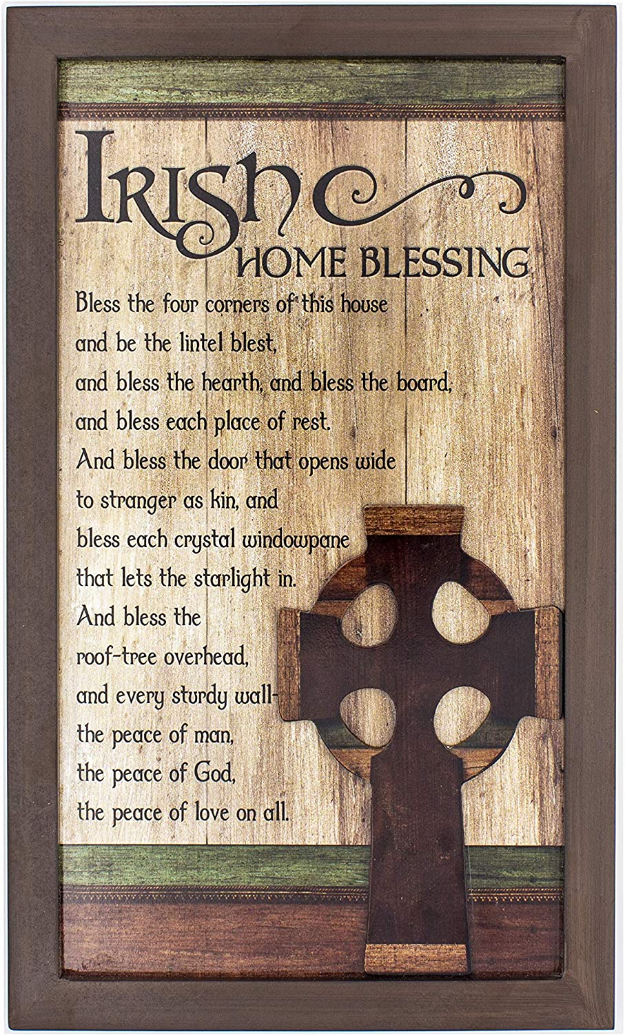 """Irish Home Blessing 15"""" x 9"""" wood Wall Plaque- with beautiful Claddagh cross and meaningful prayer hanging wall decorative plaque (Includes At Patrick Laminated Holy Card)"""