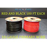 10 GAUGE WIRE ENNIS ELECTRONICS 100 FT RED 100 FT BLACK PRIMARY REMOTE HOOK UP AWG COPPER CLAD