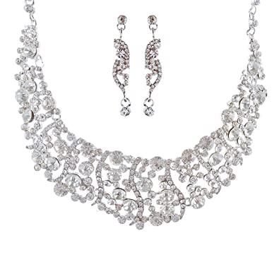 Amazon accessoriesforever women bridal wedding jewelry set accessoriesforever women bridal wedding jewelry set necklace crystal rhinestone bib chunky silver clear junglespirit Image collections