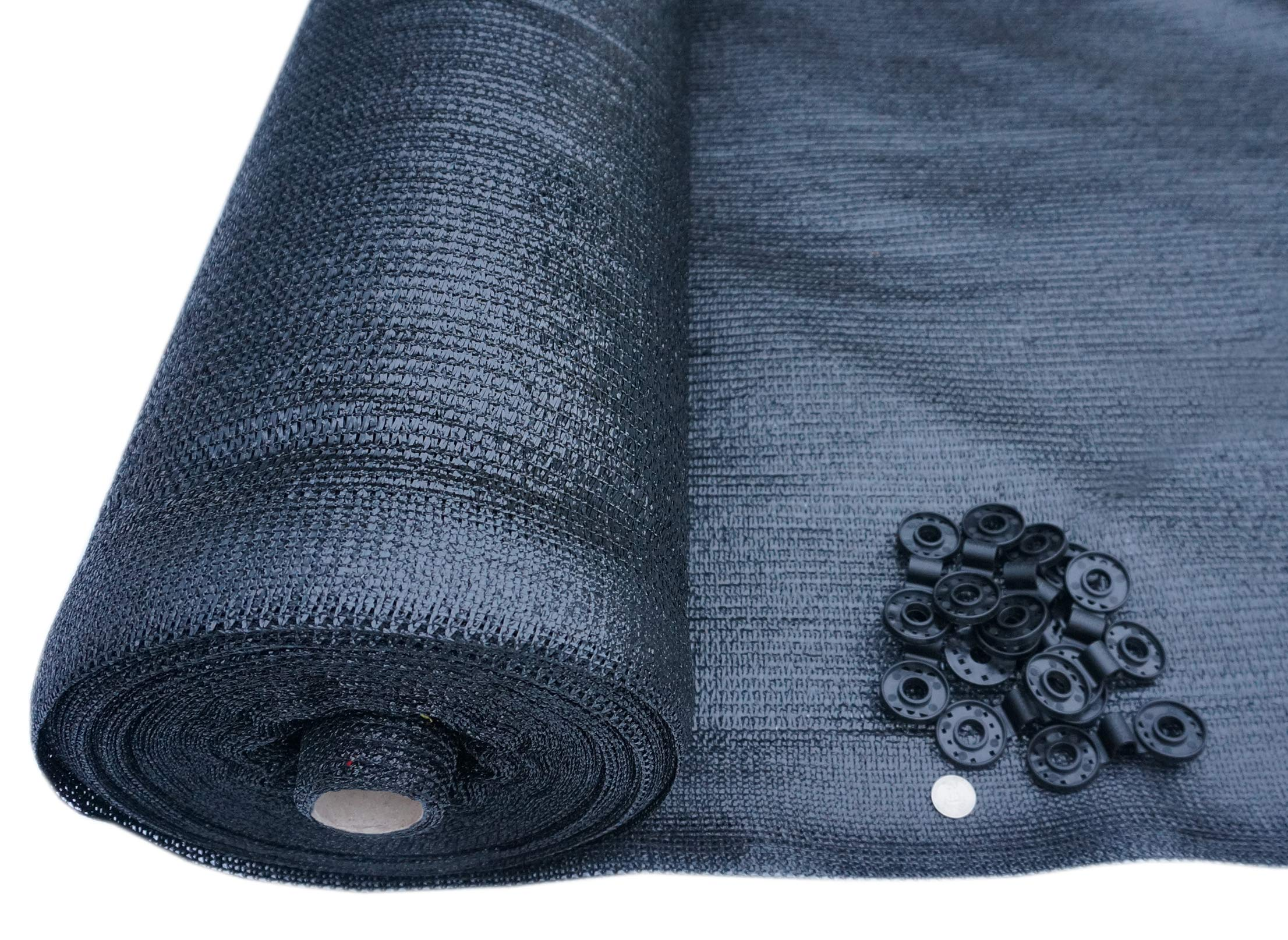SHANS 60% Black Sunblock Shade Cloth for Plant Cover, Greenhouse, Barn or Kennel, Pool, Pergola or Carport, Cut Edge UV Resistant Fabric with Free Fabric Clips (10ft x 6ft)