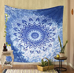 THE ART BOX Ocean Tapestry Wall Hanging Trippy Tapestry for Bedroom Psychedelic Wall Tapestry for Men Bedspread Hippie Room Decor Tapestry Blue Wall Sheet Meditation Room Decor