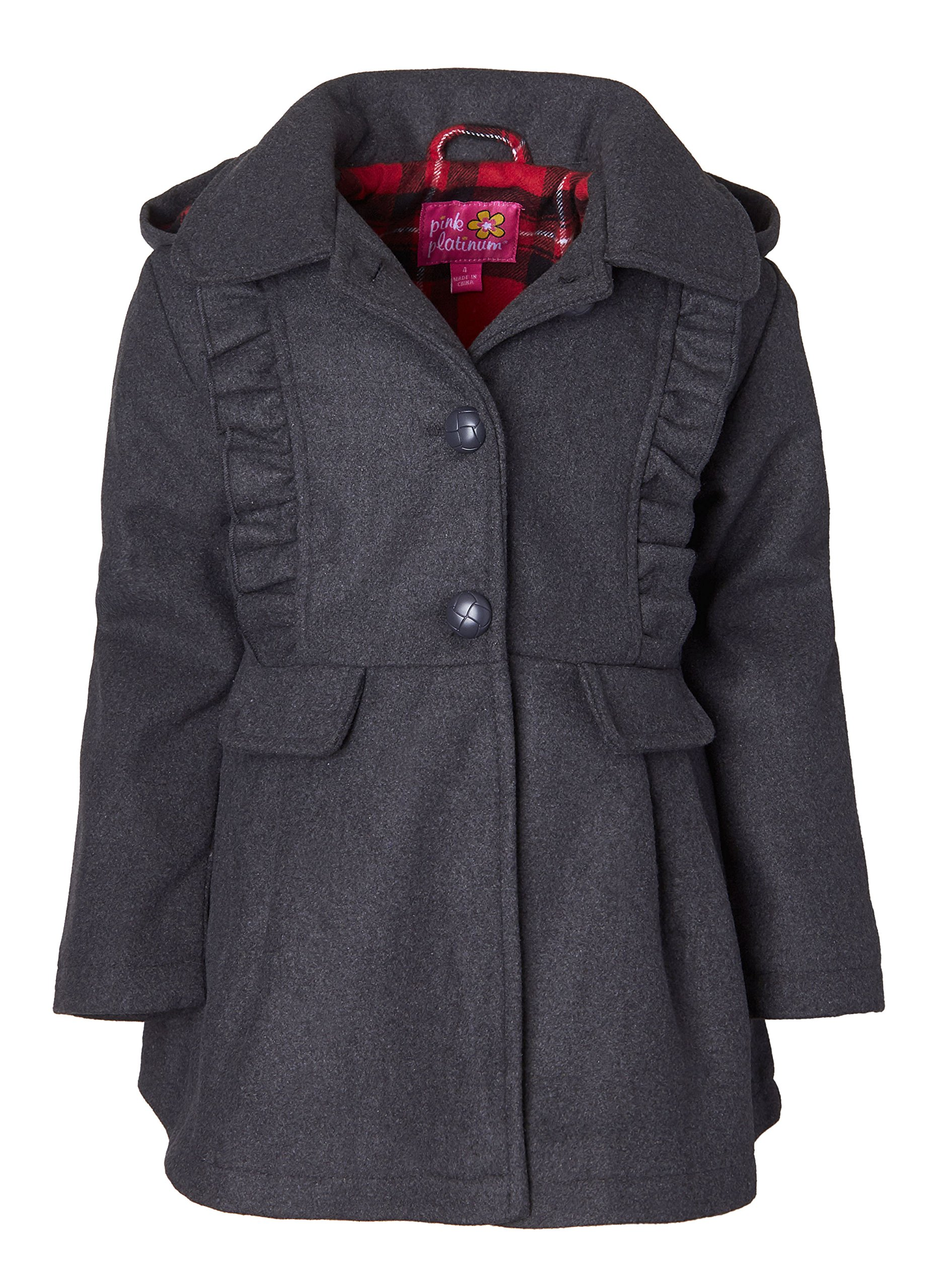 Pink Platinum Girls Wool Blend Hooded Plaid Lined Winter Dress Pea Coat Jacket - Charcoal (Size 4)