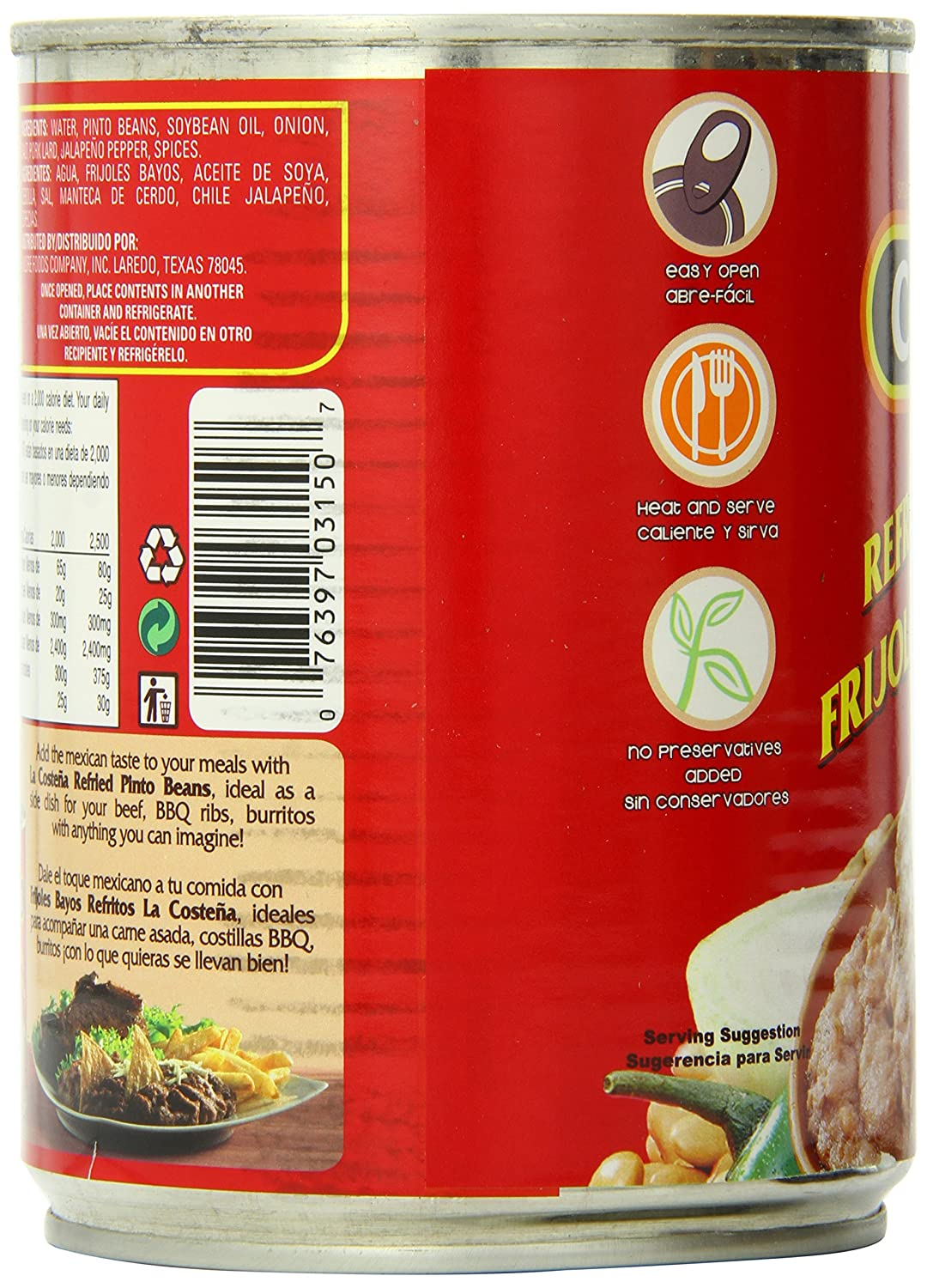 La Costena Refried Pinto Beans, 20.5 Ounce (Pack of 12)