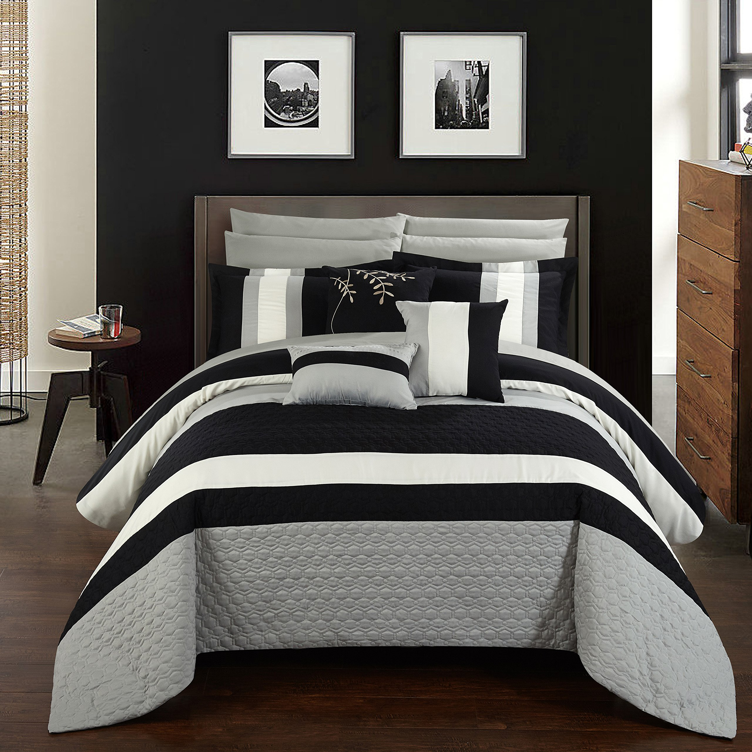 Chic Home CS2546-AN Pueblo 10Piece Pueblo Complete Bedroom Set with Octagon Embroidery Color Block Pattern. Queen Bed In A Bag Comforter Set Black with Sheet Set,Black,Queen
