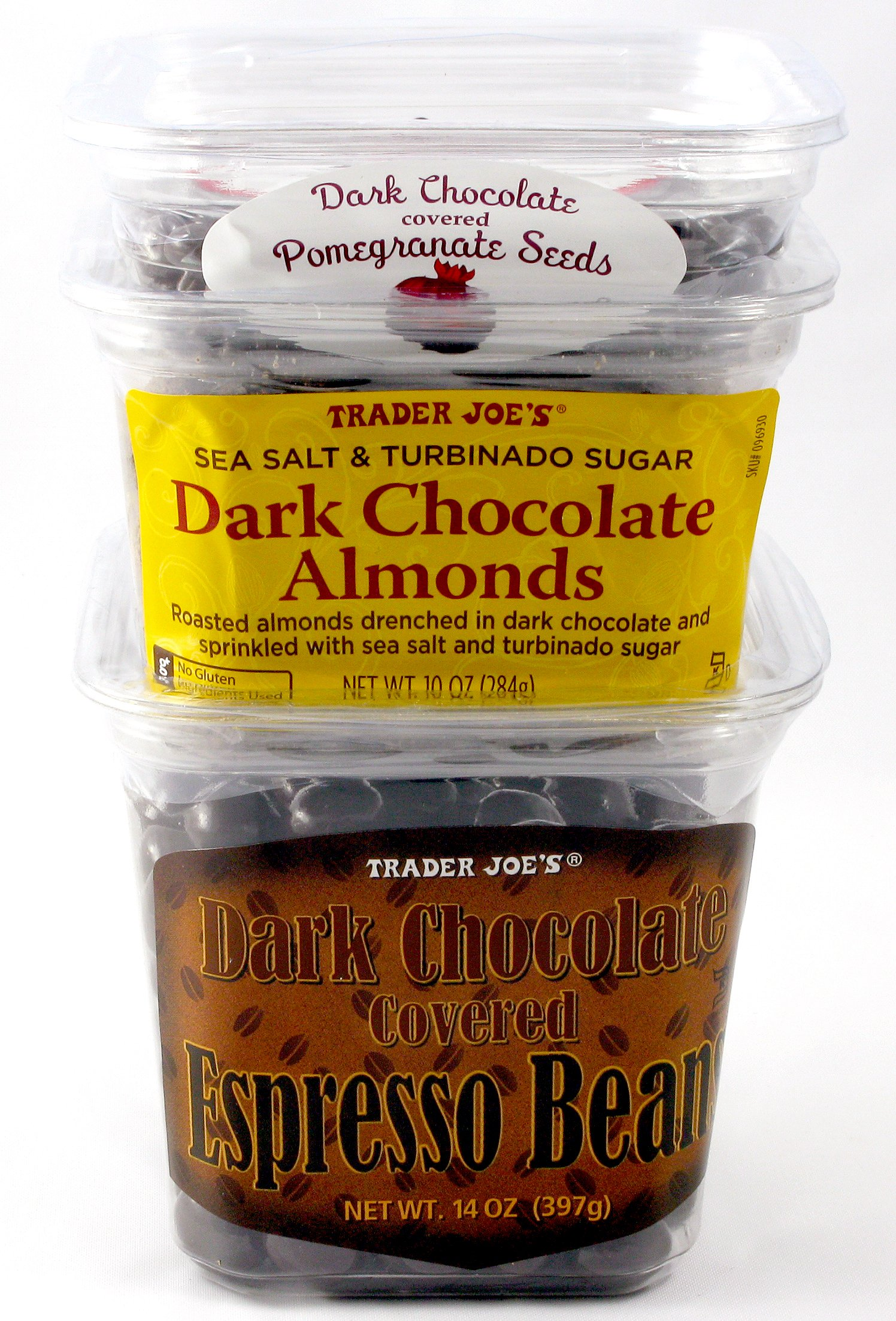 Trader Joe's Dark Chocolate Covered Espresso Beans, Dark Chocolate Covered Pomegranate Seeds, and Sea Salt and Turbinado Sugar Dark Chocolate Almonds - 3 Items Total by Trader Joe's