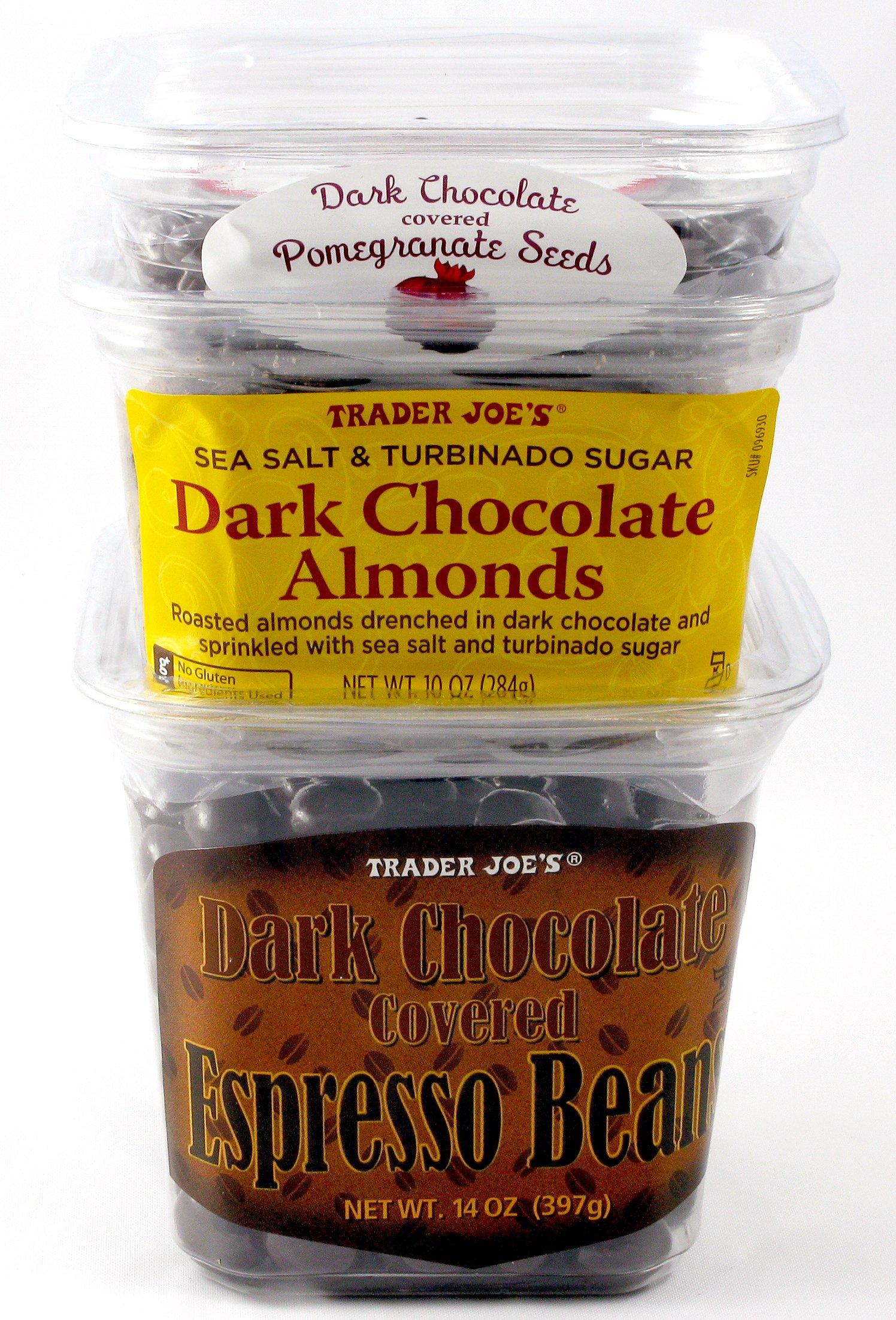 Trader Joe's Dark Chocolate Covered Espresso Beans, Dark Chocolate Covered Pomegranate Seeds, and Sea Salt and Turbinado Sugar Dark Chocolate Almonds - 3 Items Total