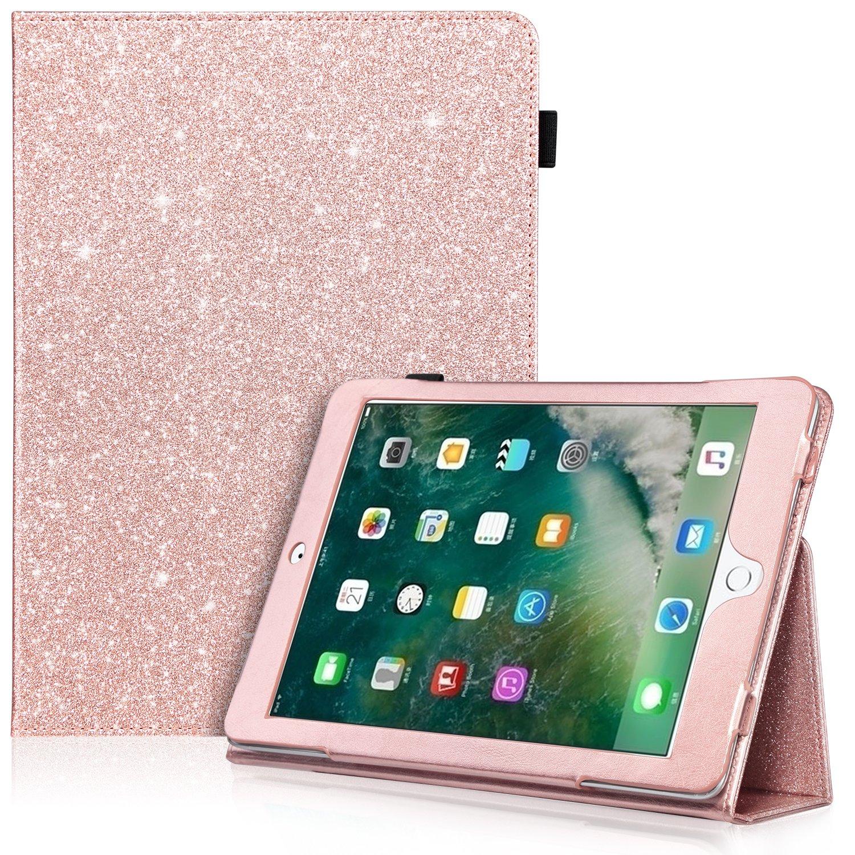 新しいiPad 2017 iPad 9.7インチケース, iPad Airケース, iPad Air 2ケース, urbandramaキラキラグリッターPUレザーフォリオスタンドスマートカバー保護ケースの新しいiPad 9.7インチ2017 /iPad Air 1 2、ローズゴールド   B078YPVZVK