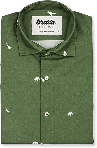Brava Fabrics | Camisa Hombre Manga Corta Estampada | Camisa Verde para Hombre | Camisa Casual Regular Fit | 100% Algodón | Modelo Jurassic Adventure: Amazon.es: Ropa y accesorios