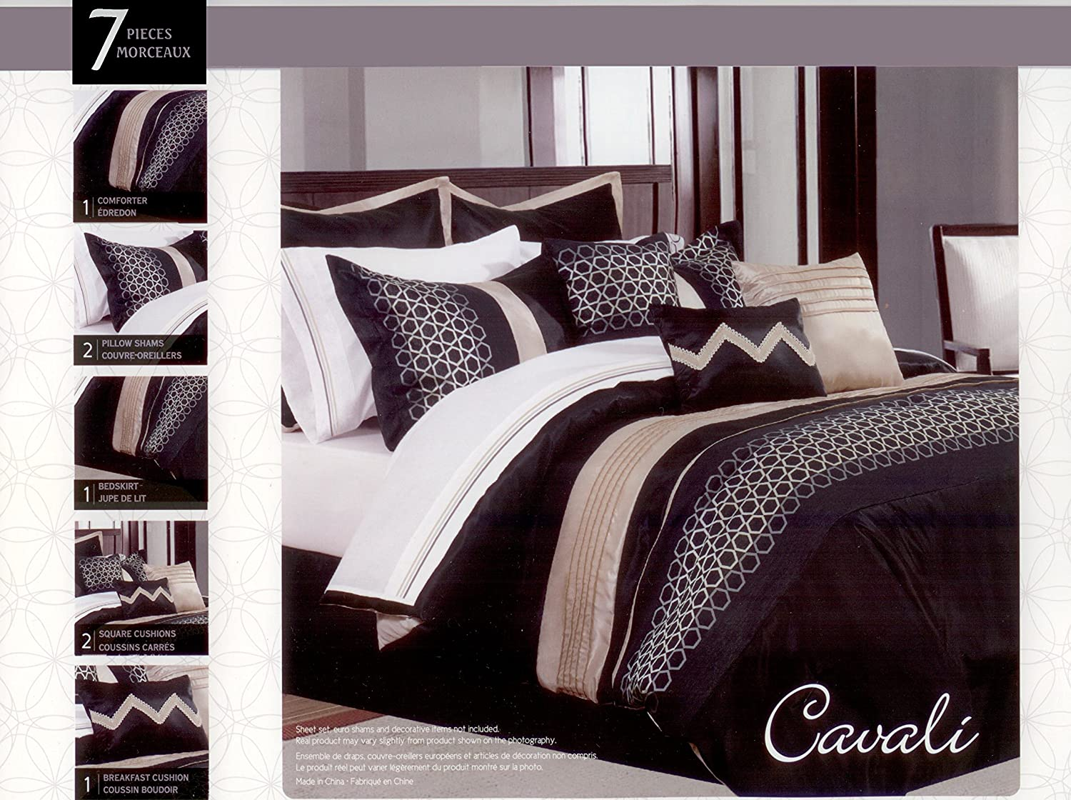 7 Pcs Embroidered Comforter Bed Set Cavali King Tres Grand