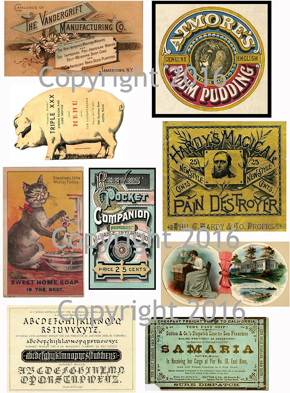 Collage Assorted Vintage Ephemera Vintage Label Images #1 on Collage Sheet for Photo Art Scrapbooking Decoupage