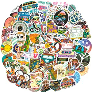 Hippie Stickers, 100PCS Cool Stickers for Laptop, Fashion Vinyl Waterproof Stickers for Water Bottles Skateboard Stickers for Teens Luggage Guitar Car Phone Graffiti Decals